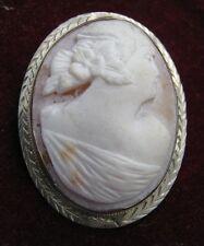14K White Gold Hand Chased 35mm Bezel SHELL CAMEO Debutante w/ Flowers in Hair