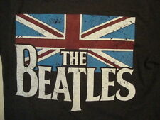 The Beatles Classic British Rock Band Great Britain Flag Soft Gray T Shirt M