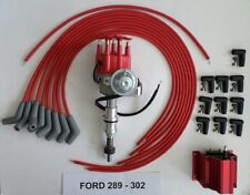 FORD 289-302 Red Small Cap HEI Distributor,RED coil,UNIVERSAL SPARK PLUG WIRE 45