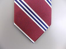 "NAUTICA $90 MEN WINE Red Striped Skinny WIDTH 3"" SILK BLEND SALE NECK TIE L18"