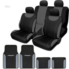 New Flat Cloth Black and Grey Car Seat Covers Floor Mats Full Set For Nissan