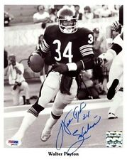"WALTER PAYTON AUTOGRAPHED SIGNED 8X10 PHOTO CHICAGO BEARS ""SWEETNESS"" PSA/DNA"