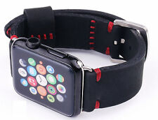 Quality Handmade Black Nubuck Leather Watch Strap Band Apple Watch Series 2 42mm