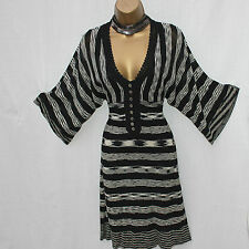 KAREN MILLEN Black Stripe Batwing Sleeves V-Neck Knitted Crochet Dress 2 UK-8-10
