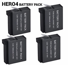4PCS Replacement for AHDBT-401 Li-ion Battery Pack for Gopro Hero 4 Silver Black