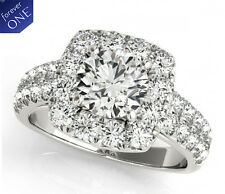 2.10 CT FOREVER ONE MOISSANITE ROUND HALO MICRO PAVE ENGAGEMENT SOLITAIRE RING
