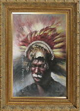 61X91cm original oil painting on canvas portrait of Native American in festival