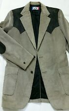 Brad Whitney Western Corduroy Gray Suede Patch Cowboy Blazer Jacket Men 40 Slim
