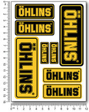 OHLINS fork shocks decals set 4.7x6.3 in. sheet 8 stickers Laminated yellow blk
