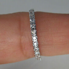 925 STERLING SILVER PLATED PAVE CZ DELICATE BAND STACKABLE RING SIZE 10 (M8)