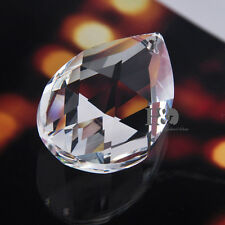5 Clear Crystal Chandelier Prism Lamp Tear Drop Glass Faceted Pendant Beads 50MM