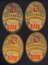 4 Anciennes étiquettes    Alcool  France Bière  BN10196 Brasserie Gutenberg Bock