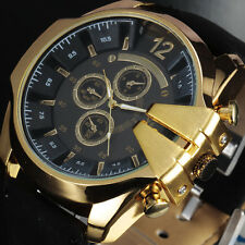Cool Oversize Army Mens Watches Top Luxury Brand Quartz Watch Vintage Relojes