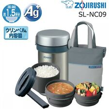 M Size Zojirushi SL-NC09-ST Stainless Thermos Food Jar Lunch Box Silver F/S