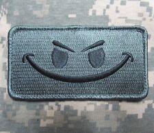 EVIL SMILEY SMILE FACE TACTICAL MORALE ISAF ARMY MILSPEC ACU DARK HOOK PATCH