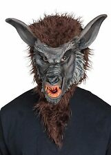 Brown Werewolf Mask Realistic Faux Fur Mens Adult Size Resin Fangs Were Wolf NEW