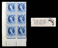 GB 1955 Wilding 1/6 Cyl Block with Flaw by Diadem As Described U/M MNH FP5982