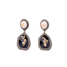 E2326 Gray Crystals Speckled Gold Leaf Artifial Stone Cream + Jet Black Earrings