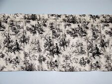 Black & White French Country Life Toile Valance Window Curtain Waverly Fabric