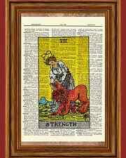 Tarot Cards Strength Major Arcana Deck Dictionary Art Print Book Picture Poster