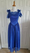 Vintage Women's Size XS Royal Blue Lace 1980s Style Dress Gunne New Wave PROM