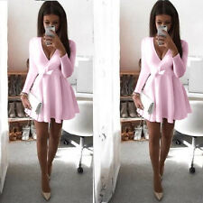 Women Long Sleeve V Neck Skirt Dress Ladies Evening Party Mini Skater Dress 6-14