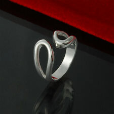 925 Silver Plated Hueco Lazo / Gota totalmente ajustable abierto ring/thumb Anillo Regalo