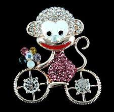 Cheeky singe sur une bicyclette incrusté avec véritable cristal couleur pierres broche