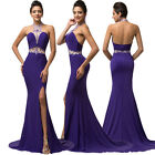 Long Bridesmaid Formal Ball Gown Evening Prom Party BEADED Halter Cocktail Dress