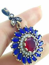 925 STERLING SILVER TURKISH HANDMADE JEWELRY RUBY PENDANT a59