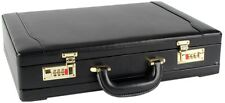 Professional Mens Leather Executive Black Briefcase with Combination Golden Lock