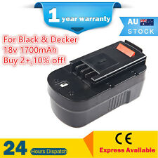Battery For Black Decker BD Firestorm 18V 1.7Ah NiCd A1718 FS18BX FS18CS FS1800D