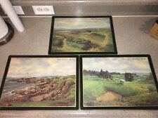 Abercrombie & Fitch placemats GOLF Vintage 3 Pc Set Hard Backed