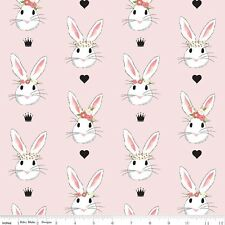 Wonderland Bunnies on Pink By the Yard Riley Blake Crowns Hearts