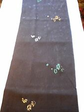 "f-165  vintage silk kimono fabric - textured metallic flower - 14"" x 58"""