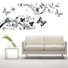 Schlafzimmer Wohnzimmer Dekoration Schmetterling Blumen Wandsticker Wandtattoo H