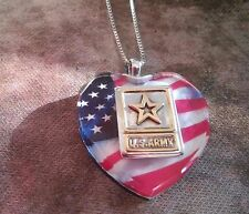 HEART SHAPE Sterling Silver United States Army US Pendant Necklace ((140))