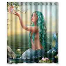 "Custom New Mermaid Art 12 holes to which rings attach Shower Curtain 60"" x 72"""