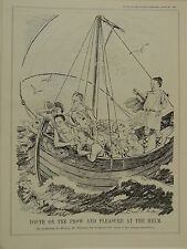 "7x10"" punch cartoon 1935 YOUTH ON THE PROW & PLEASURE AT THE HELM Baldwin"