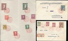 CZECHOSLOVAKIA 1930-35 MASARYK COMMEMORATIVES + POSTMARKS HODONIN in RED 3 ITEMS