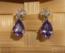 E15 WHITE GOLD gf stud earrings with white topaz & amethyst pear drop GFTBOXD