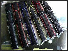 20mm Red stitch Carbon Fiber Chrono Pilot watch band strap IW SUISSE 18-19-22-24