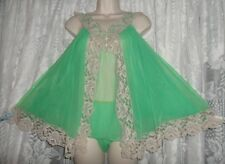 Vtg ROVEL Irish Green Sheer D Chiffon Babydoll Nightgown Nightie Panties Set M +