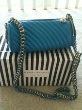 "HENRI BENDEL ""CHIC"" QUILTED  ROYAL BLUE CROSSS BODY GOLD CHAIN BAG"