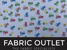 """Tractors/Diggers Kids Crafts Quilting Patchwork Poly Cotton Dress Fabric 45"""""""