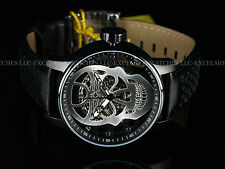 New Invicta Men 48mm Silver Skull TY2807 Mechanical S1 Rally Black IP SS Watch