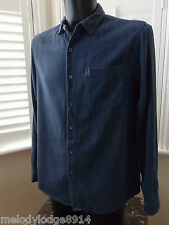 TOPMAN: Mens Shirt Size Large ~ Blue Chambray Cotton Long Sleeve Top Chest 40-42
