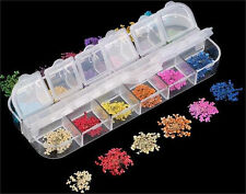 12 Color Real Dry Dried Flower Nail art Tips Decoration DIY 1 Box Free Shipping