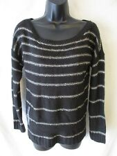 A.N.A. Acrylic Size M Crewneck Black Striped 3/4 Sleeve Sweater SR $22 NEW