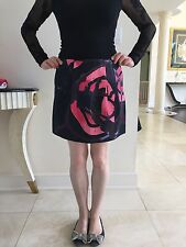 Marni Mini Skirt Black With Pink Abstract Painting 100% Cotton New Size 44